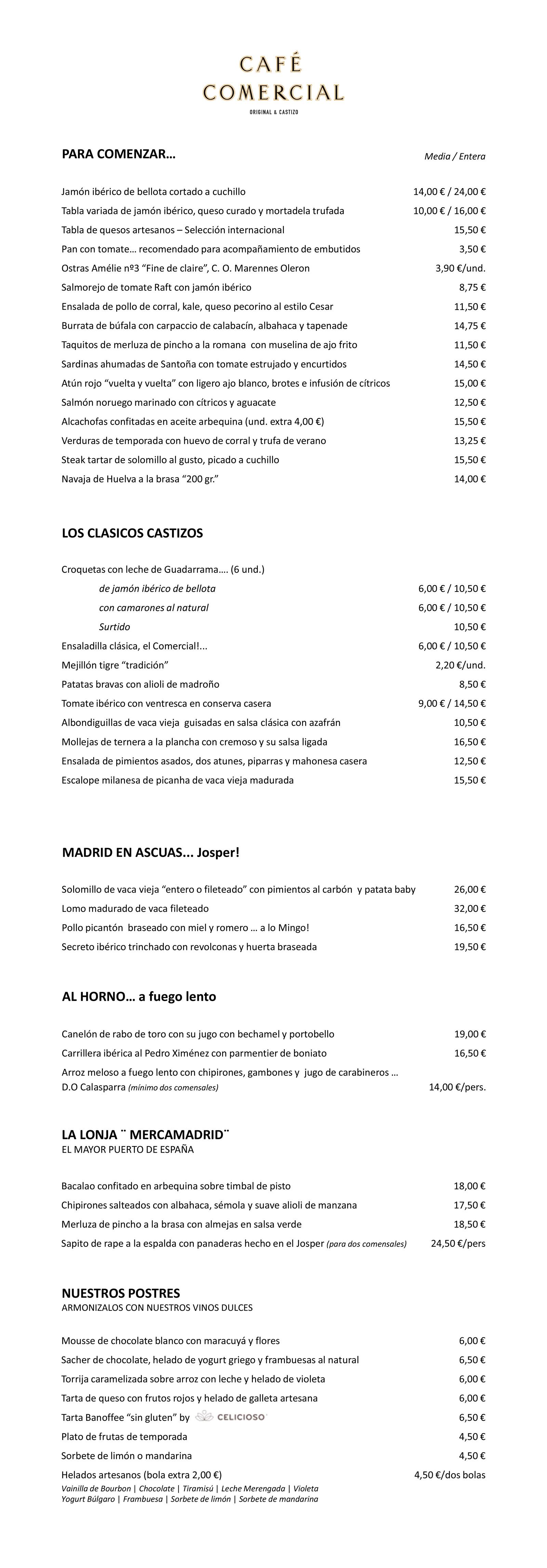 Café Comercial-Carta del restaurante | Café Comercial